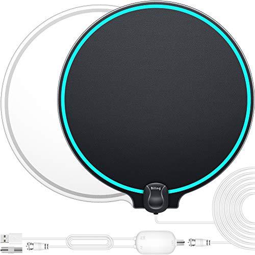 Biling Antena TV Interior- Antena TV portátil HD TV Digital con Amplificador de señal Inteligente para Canales de TV gratuitos Soporte 4K 1080 HD VHF UHF, Apto para Todos los Tipos de TV