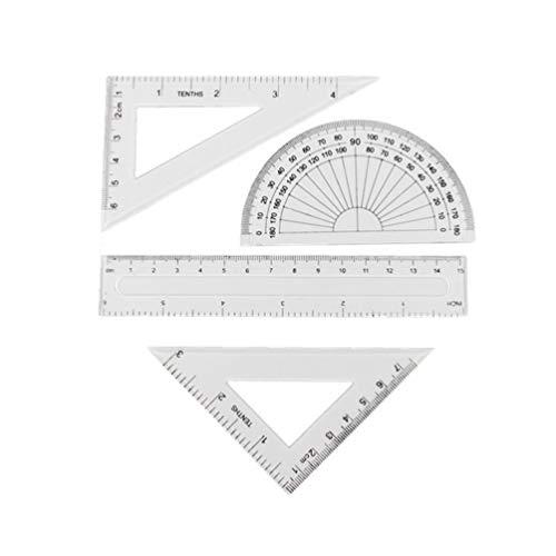 Toyvian 4 Piezas Conjunto de Regla de Plástico Regla Transparente Regla de Geometría Matemática Conjunto de Herramientas de Dibujo Arquitectos Regla Útiles Escolares