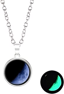 Yuanhua Luminous Earth Moon Star Night Round Glass Ball Pendant Necklace For Girl Women Gift