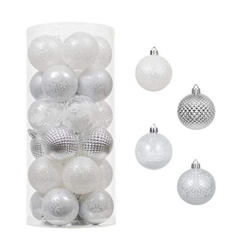 Victor's Workshop Addobbi Natalizi 24 Pezzi 6cm Palle di Natale, Frozen Winter Silver e White Shatterproof Christmas Ball Ornaments Decoration for Christmas Tree Decor