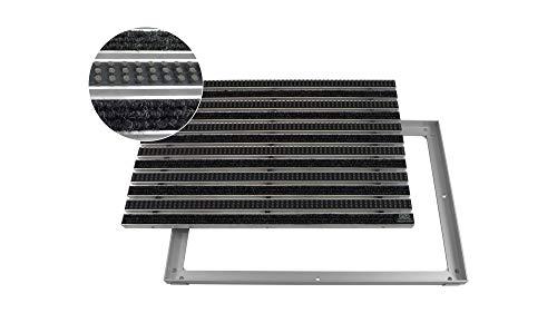 EMCO Eingangsmatte DIPLOMAT Rips anthrazit + Bürsten grau 22mm + ALU Rahmen Schmutzfangmatte Fußabtreter Antirutschmatte, Größe:600 x 400 mm