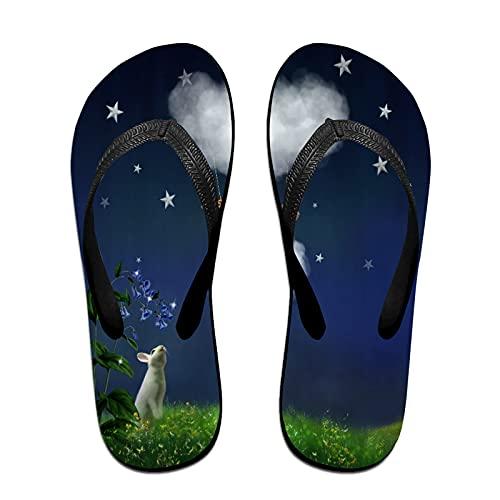 Sandales unisexes minces à bascule,Animaux marchant dans le ciel, Tapis de yoga Flip Flops plage confortable bracelet en cuir avec légère en EVA Sole Taille L