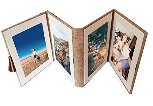 Lino Scrapbooking Album Foto,Scrapbook Album Foto,4 pagine Fun Album ad Inserimento, Matrimonio Idee Regalo Festa della Compleanno Mamma Donna Uomo Ragazza (Cachi)