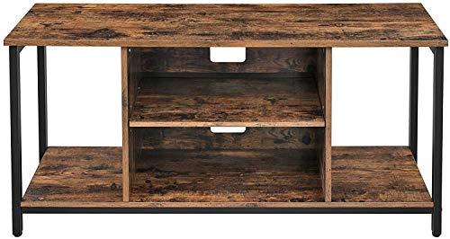 Sala de estar, sala de recreo con el gabinete de estantes de TV soporte de la TV con la consola de la televisión de estilo antiguo de almacenamiento abierto,Brown