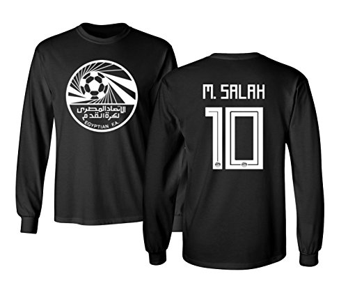 Tcamp Egypt 2018 National Soccer #10 Mohamed Salah World Championship Boys Girls Youth Long Sleeve T-Shirt (Black, Youth X-Large)