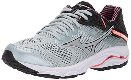 Mizuno Womens' Wave Inspire 15 Running Shoe, Grey Sky Gray Silver Fiery Coral 03, 6 B(M) US