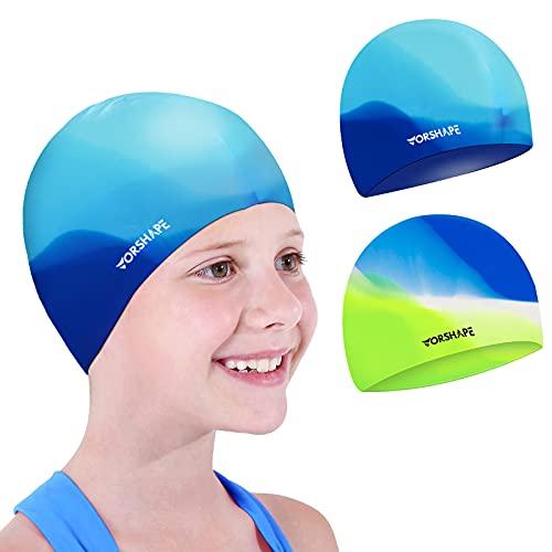 Vorshape Swim Cap Kids (2 Pack), Durable Waterproof Swimming Cap for Girls Boys Teens Toddler, Comfortable Fit for Long Hair and Short Hair, Green&Blue