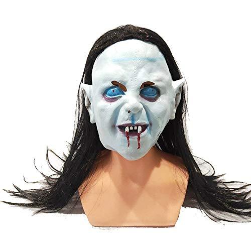 Joeesun Halloween Mask Masks Adults Masquerade - Horror Sadako Goblin Headgear Halloween Costume Head Mask one size/White