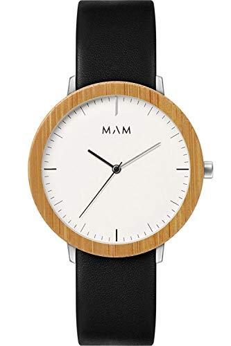 Mam originals Herren Uhr analog Japanisches Quarzwerk mit Leder Armband FERRA 624