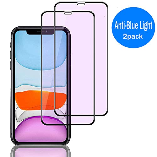 DukeIo 2 Pack gehard glas Screen Protector ontworpen voor iPhone 11 & iPhone xr 6,1 inch scherm [Anti Scratch], 6.1''(2Pack)blue light