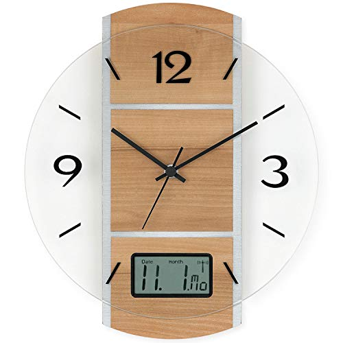 AMS - Funkuhr - Wanduhr - digitale Datumsanzeige - Holzrückwand silberfarben - Kernbuche-Optik