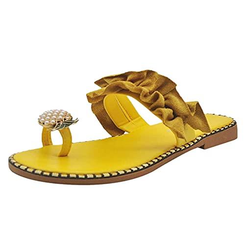 likeitwell Sandales pour Femmes Scintillant Ananas été Strass Plat Sandale Boho Diapositive Chaussures Romaines décontracté été Confortable Plage Tongs Popular