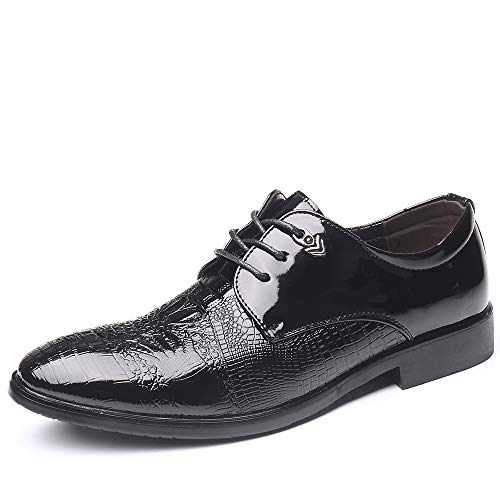 GAOERJI Formele Jurk Schoenen voor Mannen Oxfords Lace up Synthetische Patent Lederen Bruiloft Banket Punt Teen Plane Embossed Low Top Condom Outsole