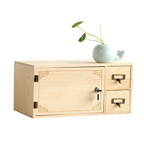 LIBILAA creatieve slot massief hout opbergdoos bureaublad lade Office opbergdoos met deur opbergkast Hout