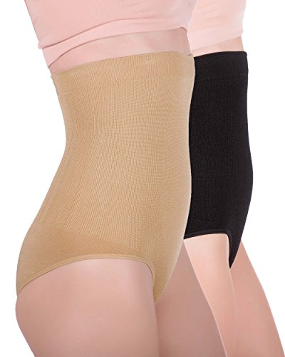 Women's Hi-waist Seamless Firm Control Tummy Slimming Shapewear Panties (Medium, 1 Black, 1 Nude (2 pack))