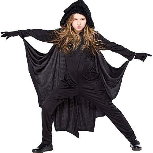 TYHTYM Kinder Halloween-Kostüm Fledermaus Vampirflügel mit Kapuze Umhang Verkleidung Cosplay Party Kostüm mit Handschuhen für Jungen und Mädchen Gr. 9-11 Jahre, Schwarz
