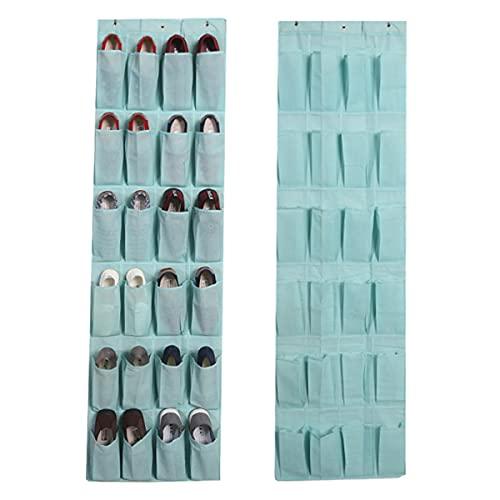 Organizador de Zapatos Colgante 24 Malla Bolsillos Almacenamiento Zapatero de Puerta Multiusos Tela No Tejida Armario para Cocina Dormitorio Baño,Azul