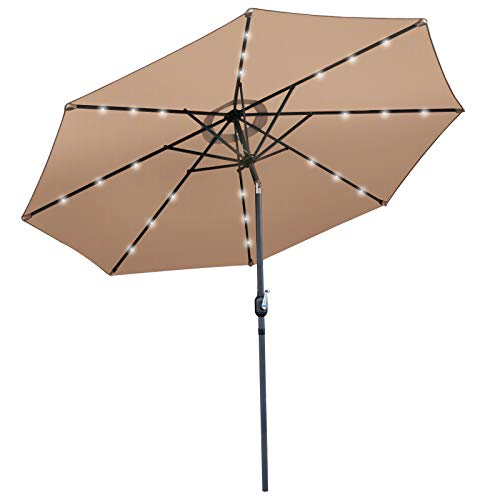 SUPER DEAL 10FT Solar LED Lighted Patio Umbrella Table Umbrella - Push Button - Tilt Adjustment&Crank Lift System - Aluminum Ribs for Patio, Garden, Backyard, Deck, Poolside, and more (Tan)