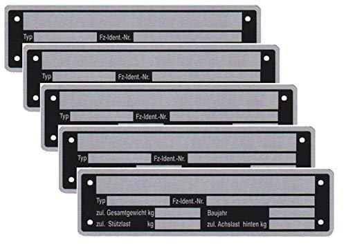 5 x Blanko Typenschild Anhängertypenschild Neutral Anhänger Vers. 2