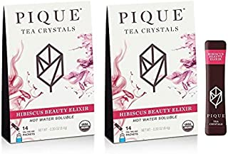 Pique Tea Organic Hibiscus Beauty Elixir - Rejuvenate, Gut Health, Calm - 28 Single Serve Sticks (Pack of 2)