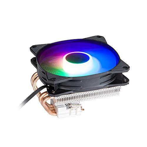 GOLDEN FIELD Z100 Low-Profile CPU Lüfter, 4 Heatpipes, mit 120mm Regenbogen LED CPU kühler Prozessorlüfter für Intel AMD Sockeln