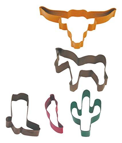 R&M International Southwest Cookie Cutters, Pepper, Cowboy Boot, Cactus, Horse, Longhorn, 5-Piece Set
