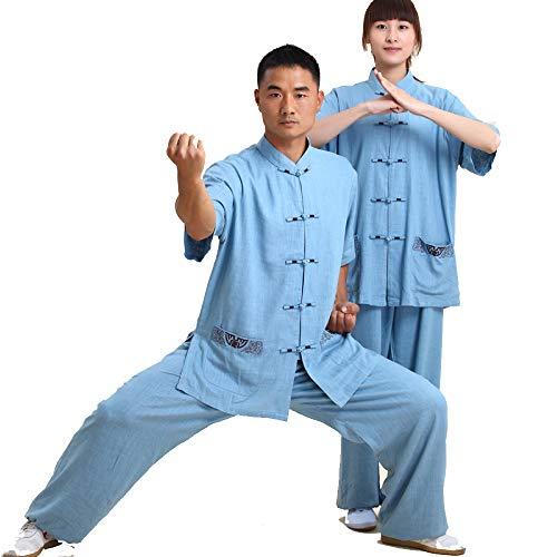 XIAOLY Chinesische Tai Chi Kampfkunst Uniform Taekwondo Trainingskleidung Kung Fu Kleidung Baumwolle Und Leinen Stickerei Kurzarm Anzug - Damen, Herren,LightBlue-L