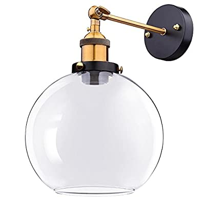 "Yescom Vintage Industrial 7.9"" Ball Shape Glass Light Wall Sconce Edison Lamp for Cafe Kitchen Transparent"