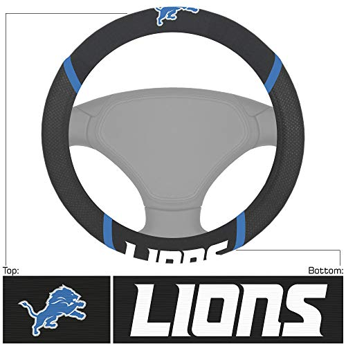 "FANMATS 15196 NFL Detroit Lions Embroidered Steering Wheel Cover, Black, Universal 15"" Diameter"