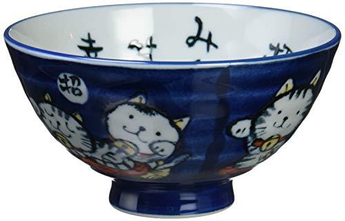 見谷陶器 言葉招き猫青茶碗 大