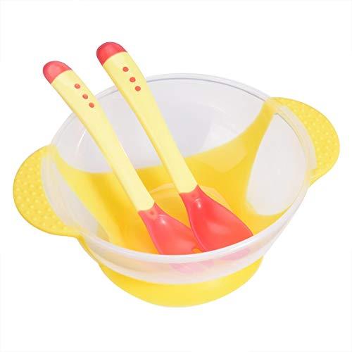 N#A Cuenco de Ventosa de Silicona, Juego de vajilla para bebés, para bebés pequeños(Yellow)