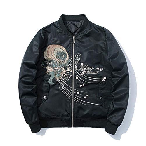 XIELH borduurjas, winterjas, warm, bomberjack, pilotenjack voor heren, borduurwerk, herfst, dunne mantel