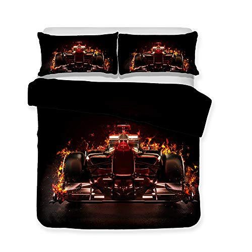 Duvet Cover Set,Colorful Speed and passion racing motorcycle race Set lovely stimulate Style Bedding Set 3D painting Quilt Cover (No sheets),F1,Double(79x79in)