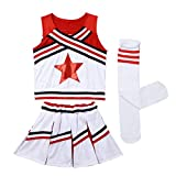Agoky Girls 3PCS Cheerleading Costume Outfit Sleeveless Star Applique Top with Pleated Mini Skirt and Socks Set Red 78 Years