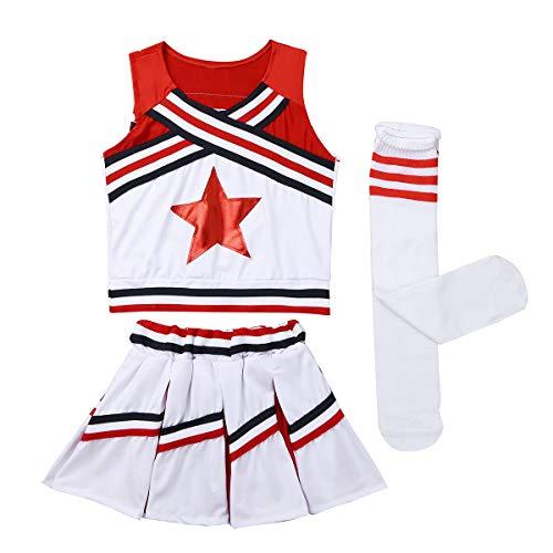 TiaoBug Junge Mädchen Cheerleading Uniform Schulmädchen Cosplay Outfits Uni Klub Party Sport Gymnastikanzug Kinder Kostüm Rot 140-152