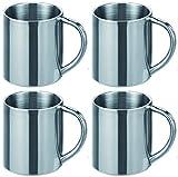 Novaliv 4 vasos de acero inoxidable I 200 ml I doble pared I tazas de café de acero inoxidable taza de camping taza de metal...