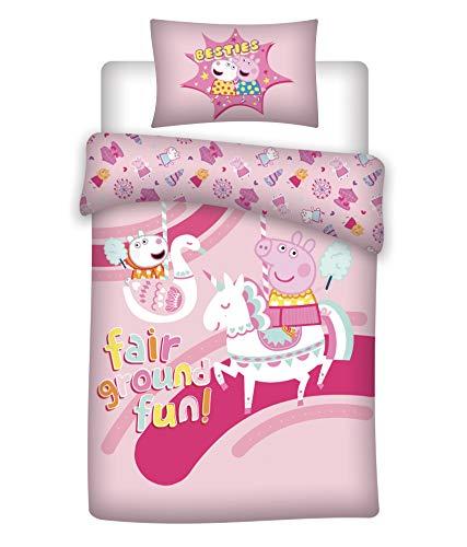 AYMAX S.P.R.L. Peppa Pig - Juego de cama infantil (funda nórdica de 140 x 200 cm y funda de almohada de 65 x 65 cm, 100% algodón)