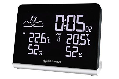 Bresser Temeo TB Weerstation, draadloos met buitensensor, 256-kleuren-display en wekfunctie voor de weergave van temperatuur en luchtvochtigheid, inclusief weertrendweergave