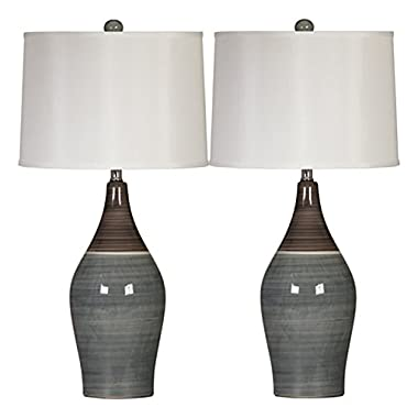 Ashley Furniture Signature Design - Niobe Ceramic Table Lamp - Set of 2 - Multicolored/Gray