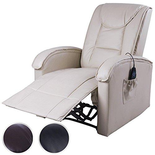 Miadomodo FSSL02 Poltrona beige reclinabile ecopelle massaggiante riscaldata