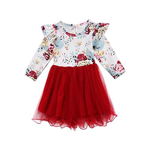 Moneycom❤Enfants Fille Impression Fleurs cassées col Rond Manches Longues Robe d'épissage Rouge(18-24 Mois)