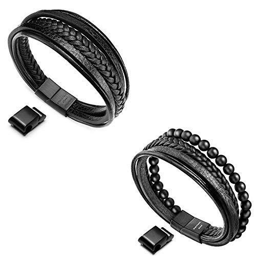 Murtoo Mens Leather Bead Bracelet and Multi-Layer Braided Leather Bracelet