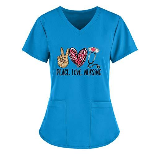 WERVOT Damen Arbeitskleidung Uniformen, Liebesherz Drucken Mediznischer V-Ausschnitt Kurzarm Schlupfkasack Damen Übergröße Kasack Pflege mit Taschen, Krankenpfleger Berufskleidung Nurse(C Blau,M)