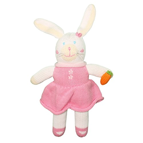 Zubels Baby Girls' Pish Posh Harriet The Bunny Toy, All-Natural Fibers, Eco-Friendly, 7-Inch Rattle