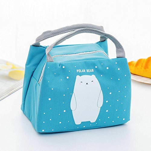 Heng draagbare geïsoleerde thermische voedsel picknick lunch tas doos cartoon zakken zakje voor meisje kinderen kinderen, blauwe ijsbeer, 17cm tot 21cm tot 15cm
