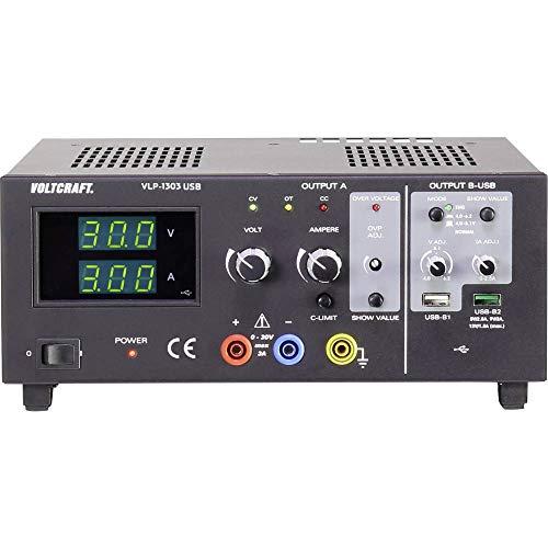 Voltcraft VLP-1303 USB Labornetzgerät, einstellbar 0-30V 0.01-3A 123W OVP Anzahl Ausgänge 3 x