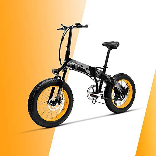 LANKELEISI X2000 48V 500W 10.4AH 20 x 4.0 pulgadas Neumático gordo 7 velocidades con Shimano Palanca de cambio Bicicleta eléctrica plegable, para mujer / hombre adulto para bicicleta de montaña bicicleta de nieve