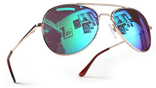Miobo Hochwertige Pilotenbrille Fliegerbrille Sonnenbrille verspiegelt (Kinder 3-9 Jahre Alt, Gold Karibikblau)