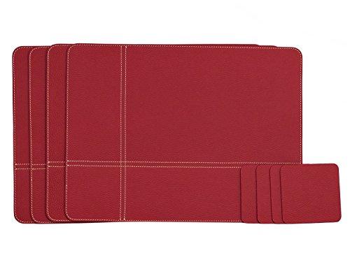 Nikalaz Lot de 4 Set de Table et 4 Dessous-de-Verres, 40 x 30 cm et 10 x 10 cm, respectivement, en Cuir Naturel Recyclé (Rouge)