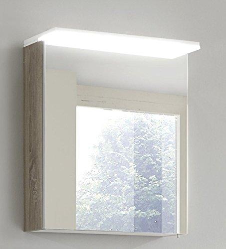Spiegelschrank mit LED Acrylbeleuchtungsboden SBA60 in Kastanie Trüffel Nachbildung